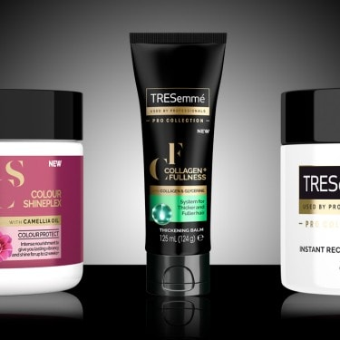 A selection of TRESemmé hair treatments, including hair masks and hair oils.