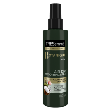 A 200ml bottle of TRESemme Botanique Air Dry Smoothing Spray Front of Pack