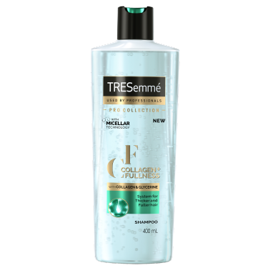 A 400ml bottle of TRESemmé Collagen + Fullness Shampoo front of pack image
