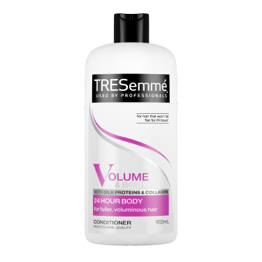 A 900ml bottle of TRESemmé 24 Hour Body Volume Conditioner front of pack image