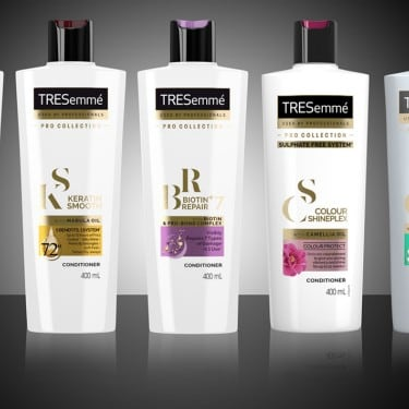 Black and White images of TRESemmé Conditioner Bottles