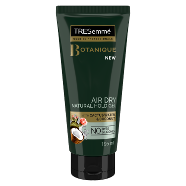 A 200ml bottle of TRESemme Botanique Air Dry Natural hold gel 195ml Front of Pack