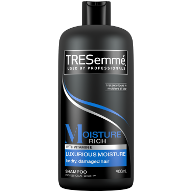 A 900ml bottle of TRESemmé Moisture Rich Shampoo front of pack image